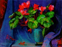 red flowers in a blue pot by zhenia arutyunyan