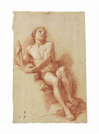 a male nude (recto), a seated female nude (verso) by pompeo girolamo batoni