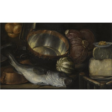 a still life with a fish, onions, cabbage, cheese and copper pots by cornelis jacobsz. delff