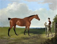landscape with hunter and groom by william barraud