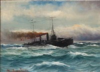 seascape with a torpedo ship in rough sea by alfred jensen
