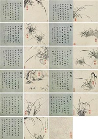 兰花 (flowers) (album of 12) by ma shouzhen