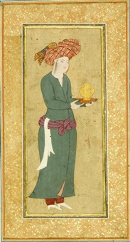 a youth holding a flask by reza-i abbasi