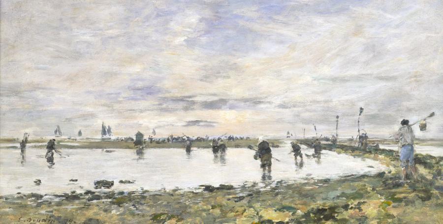 marée basse à trouville pêcheurs de crevettes by eugène boudin