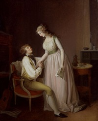 interior scene with a young couple by jean-simon fournier