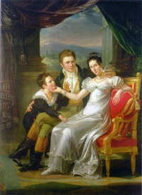 portrait of a family in an interior, a landscape beyond by guillaume françois colson