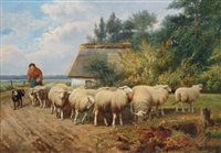 bäuerin mit schafherde by johan lodewijk van leemputten