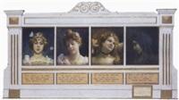 portraits de jeune fille au papillon, au fil du temps by alphonse léon germain-thill