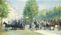 a busy day on the champs elysées, paris by edmond georges grandjean