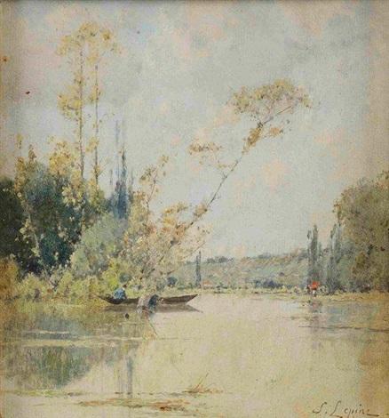 pêcheur sur un lac by stanislas lépine