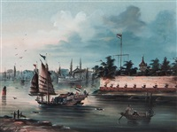 the whampoa pagoda; dahangjiao fort, (pair) by anglo-chinese school (19)