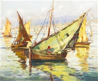 boats in harbour by george gardner symons