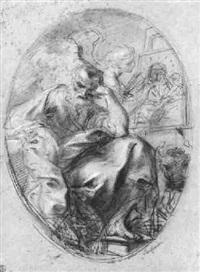 saint luke and the angel painting the virgin by antonio consetti