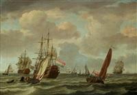 a dutch man-o-war and a two-decker in a stiff breeze by adam silo