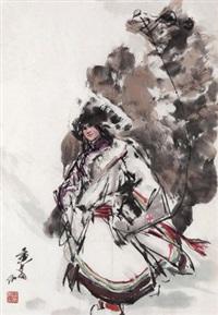 风雪归舟 鏡心 设色纸本 (lady and camel) by huang zhou