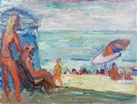 scène de plage à deauville by henri saada