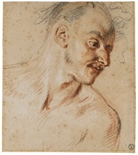 head and shoulders study of a faun, his head turned to the left by jean antoine watteau