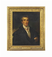 portrait of arthur wellesley, 1st duke of wellington, k.g., k.b., m.p. (1769-1852), bust-length, in civilian clothes with a military cloak... by thomas lawrence