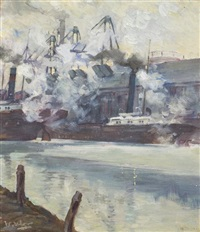 steam ships in the city by walter ufer