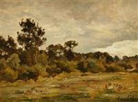paysage aux grands arbres by louis alexandre cabié