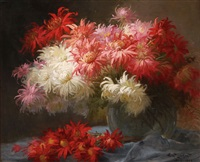 still life with chrysanthemums by henri privat-livemont