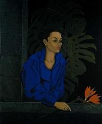 mujer con flor del paraíso by xavier esqueda