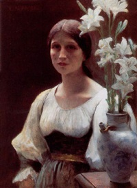 young beauty standing beside a jug of lilies by etienne azambre