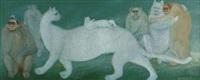 chat blanc et les singes by jasmin joseph