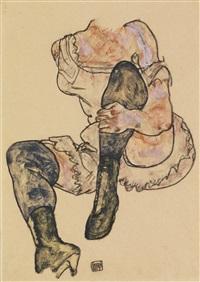 sitzende mit angezogenem linken bein (torso) (seated woman with bent left leg (torso)) by egon schiele