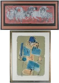 horses; harlequin (2 works) by hans erni