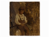 sketch, boy by jean-baptiste-camille corot
