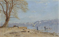 le grand lac vu du quai d'ouchy by francois-louis-david bocion