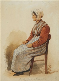 a seated woman by andreas achenbach