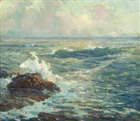 coastal - crashing surf by jack wilkinson smith