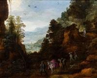personnages sur un chemin dans un paysage de montagne by joos de momper the younger