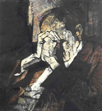 a man with clasped hands by rené artozoul
