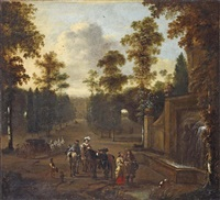 an italianate park landscape with an elegant company halting rest by pieter wouwerman