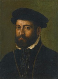 portrait of a bearded man, bust length, wearing a black hat by nicolo dell' abbate