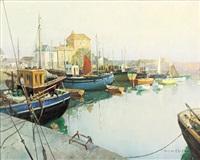 mevagissey harbor by vernon ward