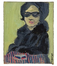 untitled (portrait of woman in glasses and coat) by vernon lobb