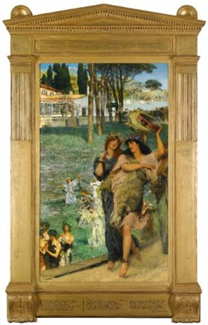 a spring festival on the road to the temple of ceres by sir lawrence alma tadema