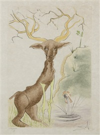 deer seeing himself by salvador dalí