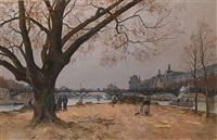 le pont des arts et le musée du louvre, paris by henri linguet