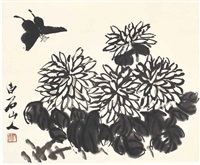 chrysanthemum and butterfly by qi baishi