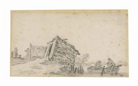 fishermen in a rowing boat, a shack tottering on the bank by jan josefsz van goyen