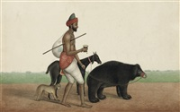 a travelling juggler with his dancing bear, monkey and goat by muhammad amir