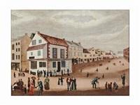 town scene by american school