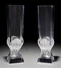 broceliande clear crystal vases (pair) by rené lalique