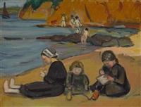 spielende mädchen am strand by fernand piet