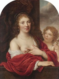 portrait of a woman as venus, with cupid by johann spilberg the younger